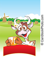 Cow with a milk pot