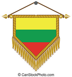 vector pennant with the flag of Lithuania - vector pennant...