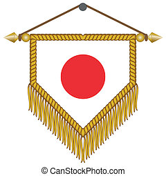 vector pennant with the flag of Japan - vector pennant with...