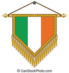 vector pennant with the flag of Ireland - vector pennant...
