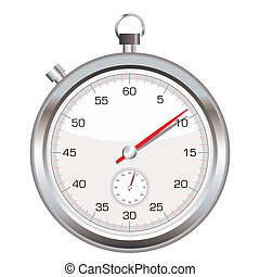 Stop watch icon - Silver stop watch with second hand icon