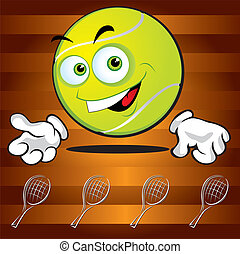 Funny smiling tennis ball
