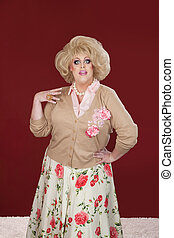 Retro Drag Queen - Surprised drag queen with mouth and eyes...
