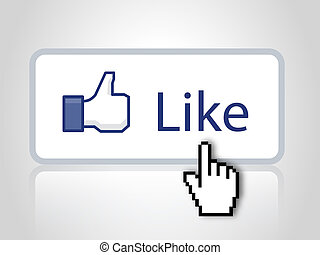Like button on web site - Like button with mouse cursor and...