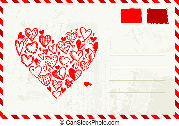Valentine envelope with red heart sketch and place for your...