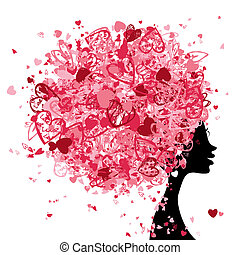 Female head with hairstyle made from tiny hearts for your...