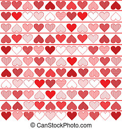 Background pattern with red hearts