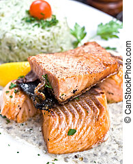 french cuisine dish - grilled salmon and lemon - french...