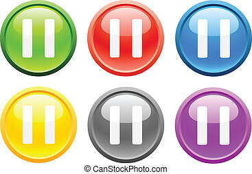 Pause. [Vector] - 6 high-detailed buttons. Pause. Vector...