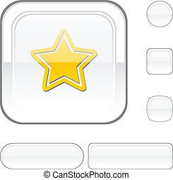 Star white button. - Star white buttons. Vector...