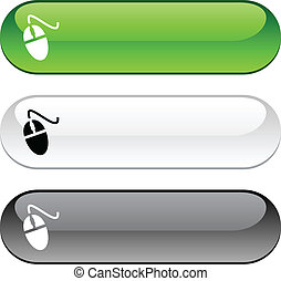 Mouse button. - Mouse glossy buttons. Three color version.