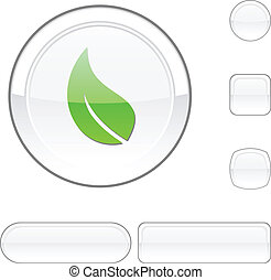 Ecology white button. - Ecology white buttons. Vector...