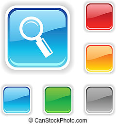 Searching button - Searching square button Used blends