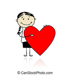 Cute girl with valentine heart, place for your text