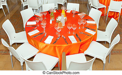 Table setting - Table setting in gourmet big restaurant