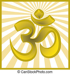 Hinduism religion golden symbol om on sun burst background