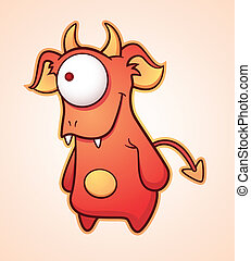 Crafty Cartoon Devil - Cartoon Character