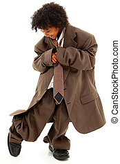 Adorable Beautiful Black Girl Child in Baggy Business Suit...