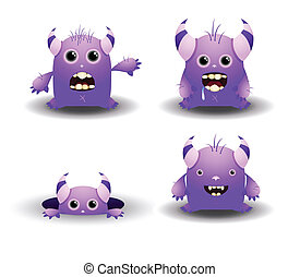 Set of Cute Vector Monsters - Cartoon Characters