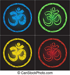 Hinduism religion golden symbol om on black background -...