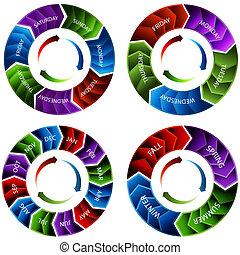 Time Wheel Arrows - An image of a vibrant colorful time...