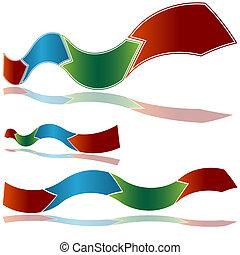 Wavy Ribbon Arrow Chart - An image of a wavy ribbon arrow...