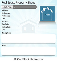Real Estate Property Sheet - An image of a real estate...