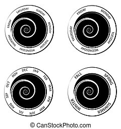 Swirl Center Time Wheels - An image of a swirl center time...