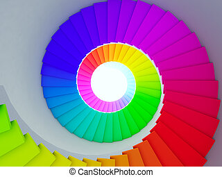 Colorful spiral stair to the future.