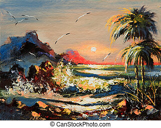 Sea landscape with palm trees and seagulls