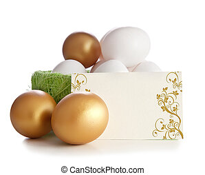 Gold and simple eggs with an invitation card