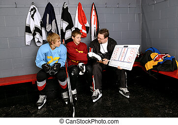 Coach Gives Lessons To Hockey Players in Dressing Room -...