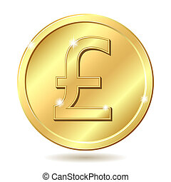golden coin with pound sterling sig - Gold coin with pound...