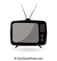 TV old vector illustration in black color