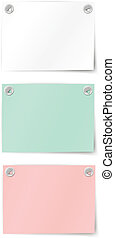 set of paper notes - Isolated on a white background