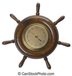 Ship helms steering wheel barometer - Nautical Steering Helm...