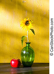 Sunflower in glass vase and red apple still life - Sunflower...