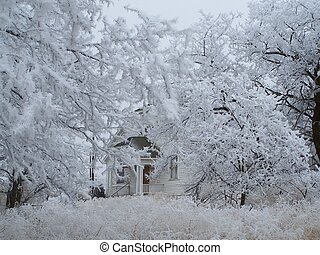 Whiteout - A grange hall surrounded in frost.