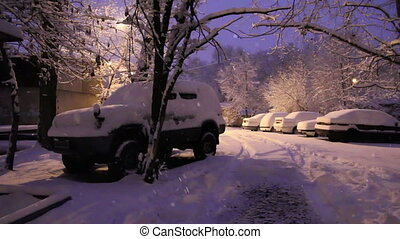 Cars in snowbanks