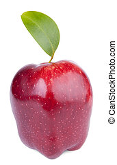 Red delicious apple with green leaf