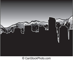 Vancouver Skyline With Mountains - simple drawing of The...