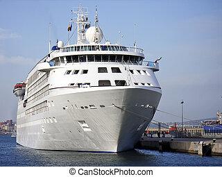 Mediterranean Cruiseship - White cruiseship in the...