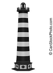 Black lighthouse isolated on white background
