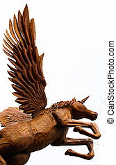 Taking Flight - Chainsaw sculpture of a wooden Pegasus...