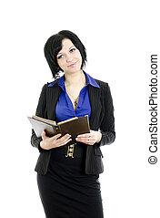 Portrait of a business woman with document. Over white background.