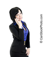 Portrait of a business woman with mobile phone. Over white background.