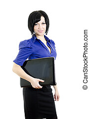 Portrait of a business woman with laptop. Over white background.