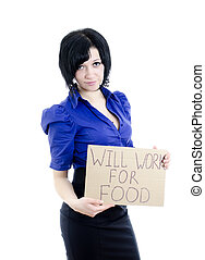 Unemployed woman with cardboard