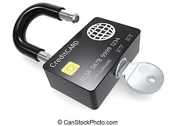 Secure Payments. - Credit Card made like a Padlock.