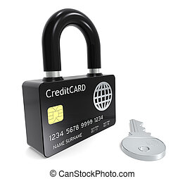 Secure Online Payments - Credit Card made like a Padlock